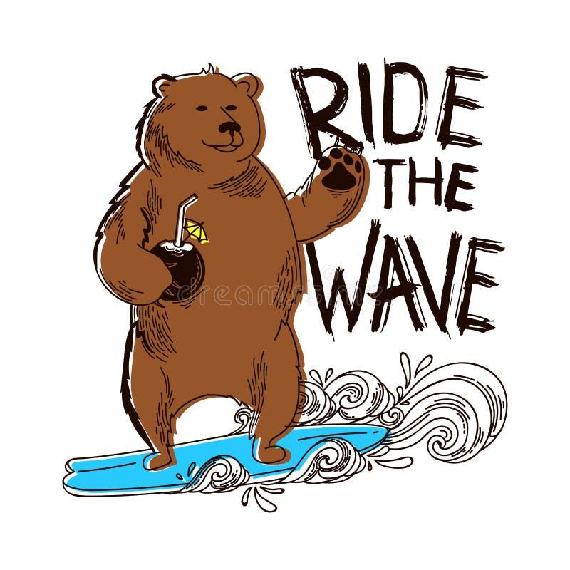 Rida vågen Rolig björn på surfa med coctailen bränning Kalifornien drömma royaltyfri illustrationer