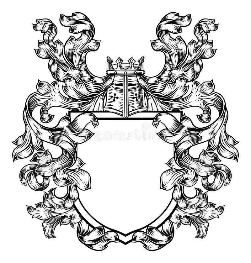 Riddare Heraldic Crest Coat av armsköldemblemet stock illustrationer