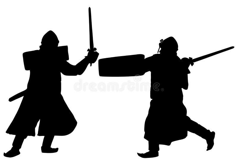 Riddare i harnesk, med svärdet och skölden i stridkontur royaltyfri illustrationer