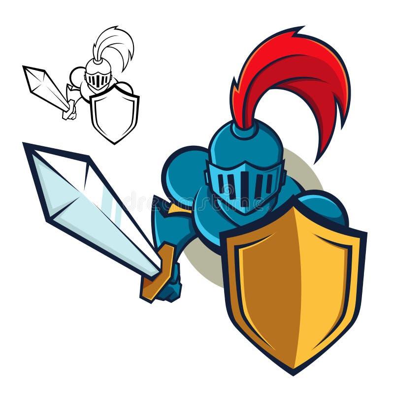 Riddare med skölden och svärdet royaltyfri illustrationer
