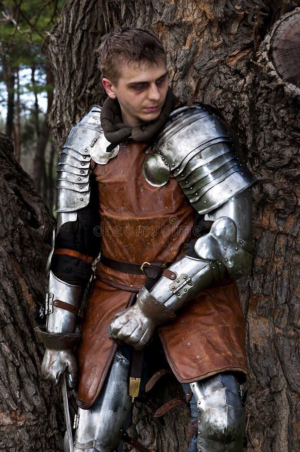 Riddare med svärdet nära trädet royaltyfri bild
