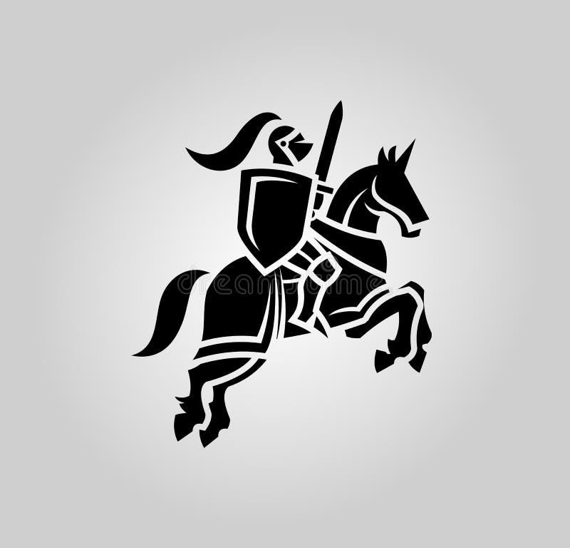 Riddare med svärdet och skölden på en häst stock illustrationer