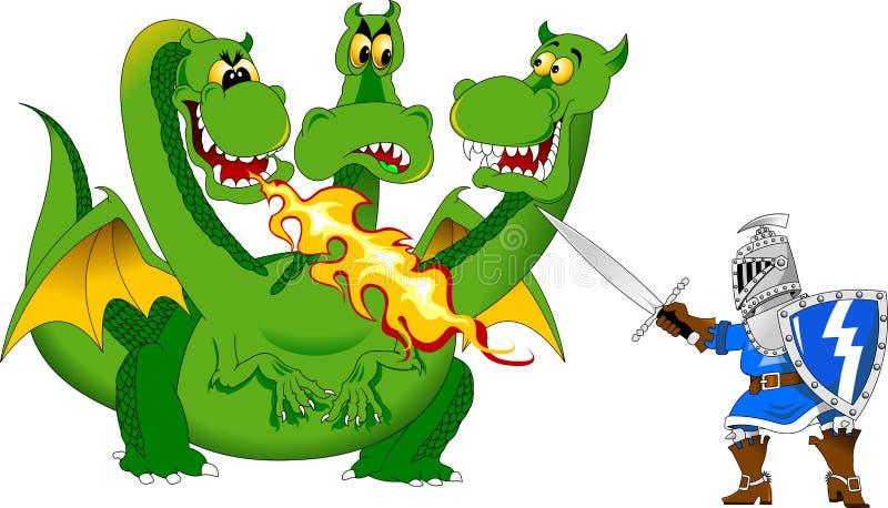 Riddare och draken royaltyfri illustrationer