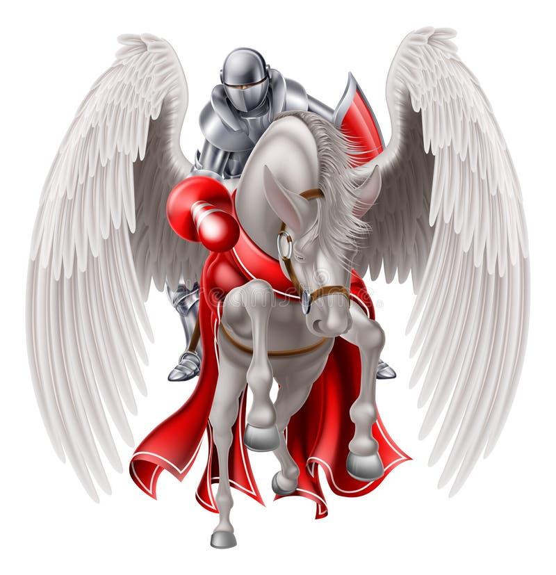 Riddare på den Pegasus hästen royaltyfri illustrationer