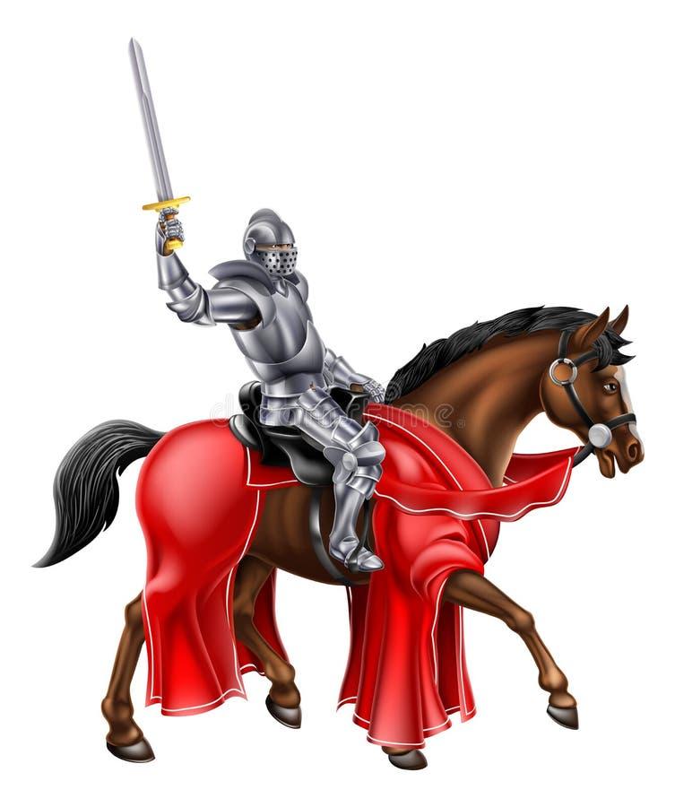 Riddare på det hållande svärdet för häst stock illustrationer