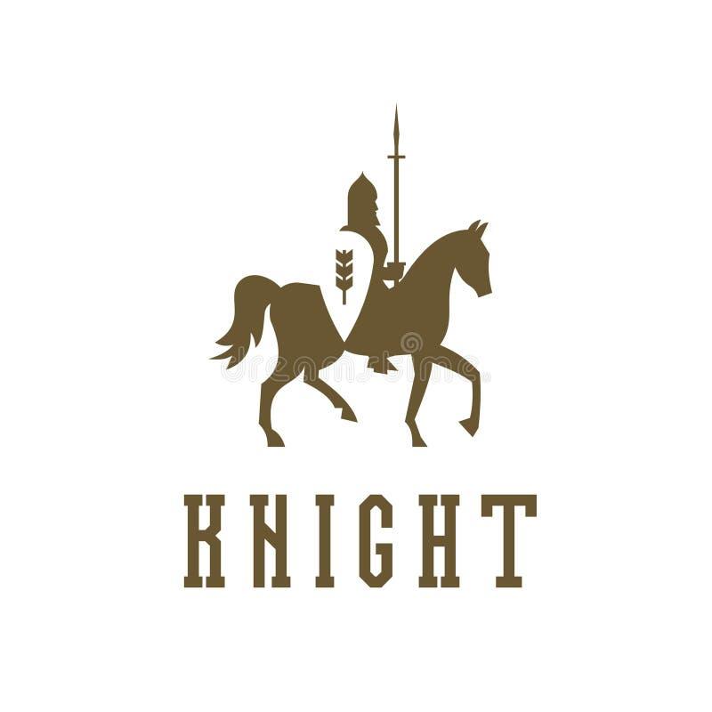 Riddare på hästrygg med en ringbrynjaharnesk royaltyfri illustrationer