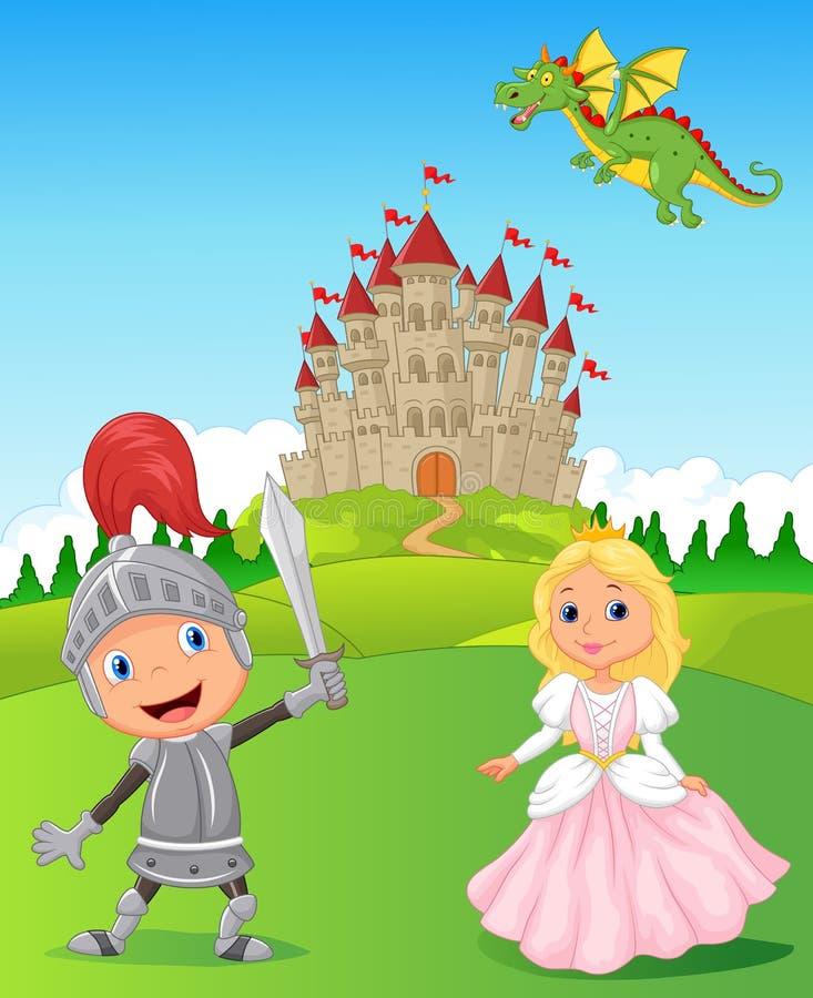 Riddare, prinsessa och drake royaltyfri illustrationer