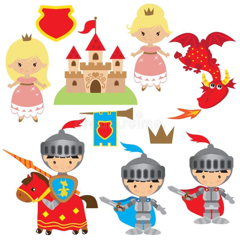 Riddare-, prinsessa- och drakevektorillustration royaltyfri illustrationer