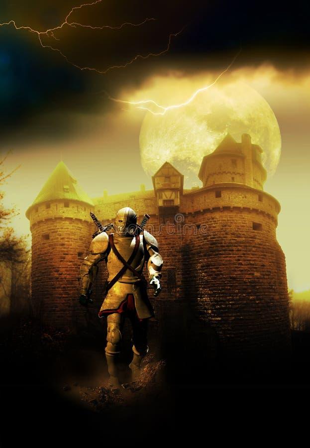 Riddare, slott och måne royaltyfri illustrationer