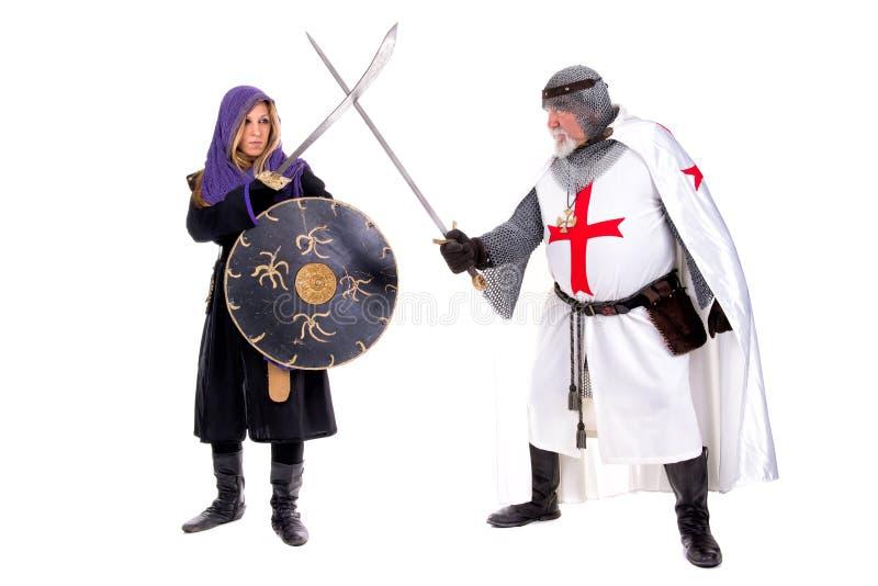 Riddare Templar och muselman royaltyfri fotografi