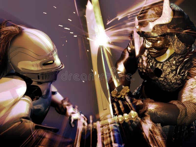 Riddare vs samurajer stock illustrationer