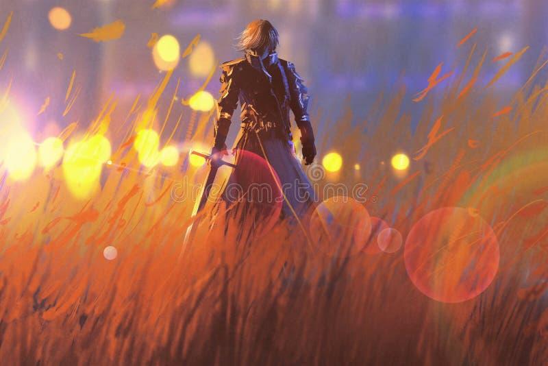 Riddarekrigareanseende med svärdet i fält royaltyfri illustrationer