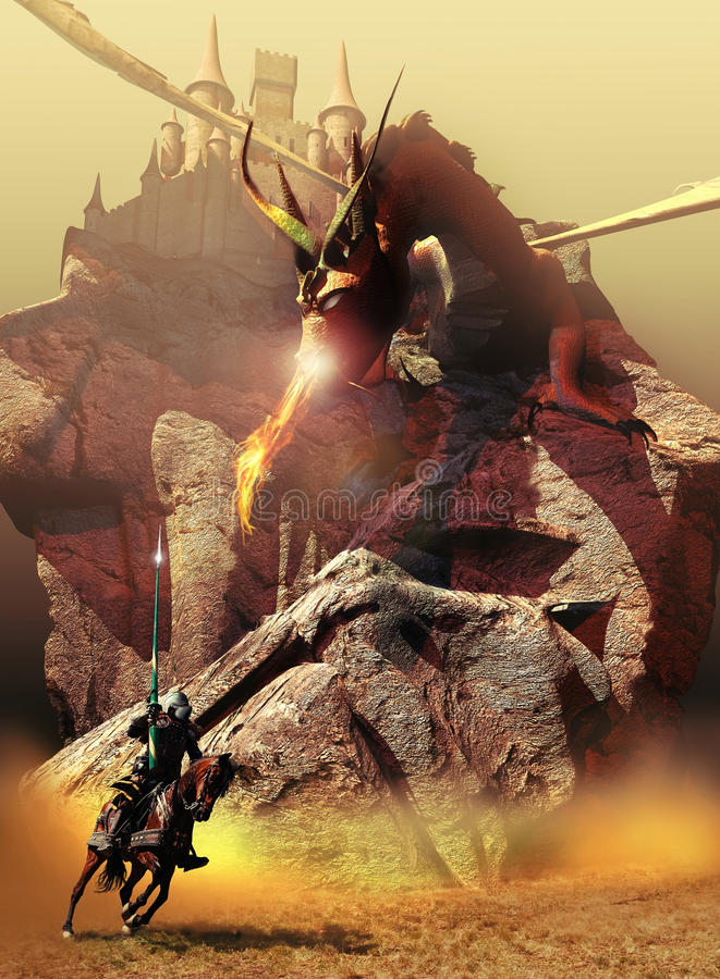 Riddaren, draken och slotten royaltyfri illustrationer