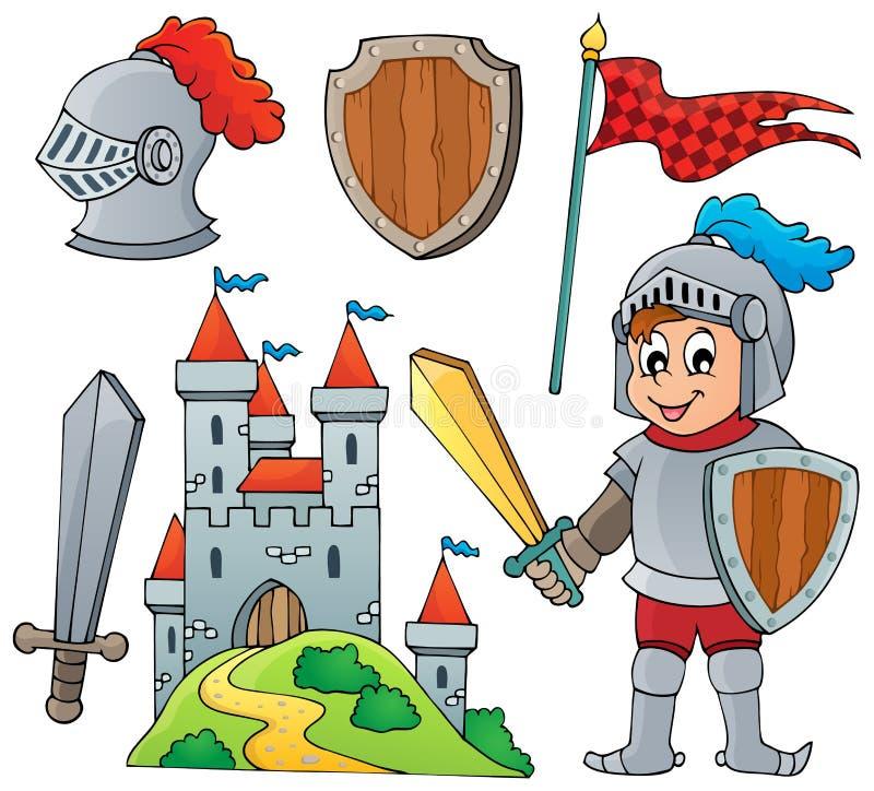 Riddaretemasamling 1 royaltyfri illustrationer