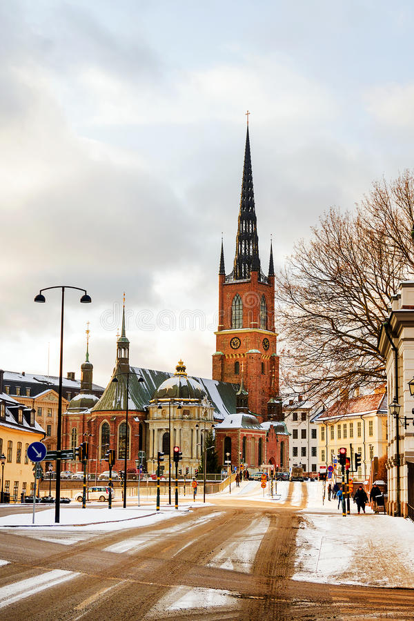Riddarholmenkerk in Stockholm, Zweden stock foto's