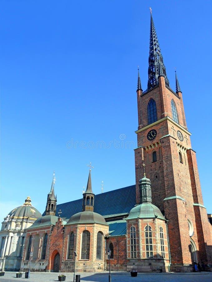 Riddarholmkerk, de Definitieve Rustende Plaats van de Meeste Zweedse Monarchen, het Eiland Riddarholmen, Stockholm, Zweden royalty-vrije stock afbeelding