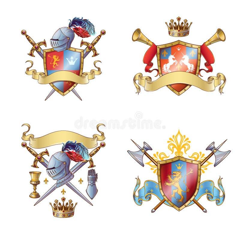 Ridder Colorful Emblems vector illustratie