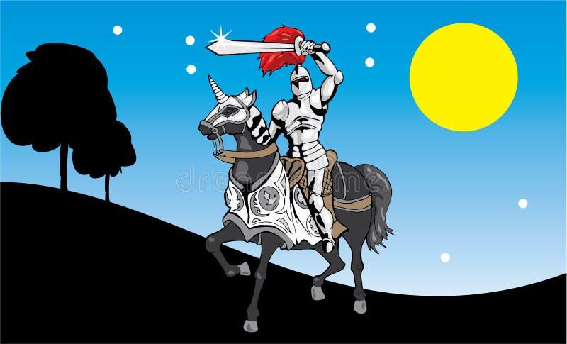Ridder in de nacht royalty-vrije illustratie