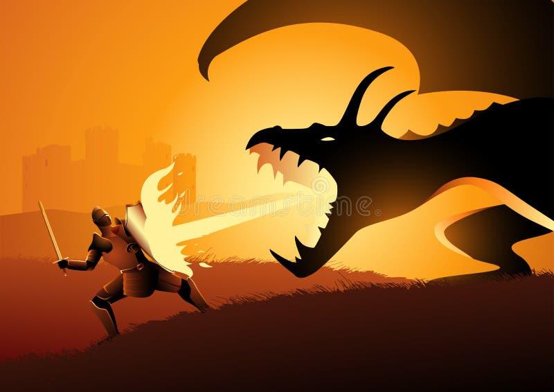 Ridder die een draak bestrijdt royalty-vrije illustratie
