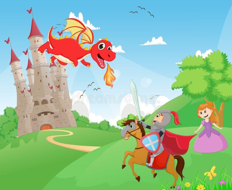 Ridder die een draak vechten om de prinses te beschermen vector illustratie