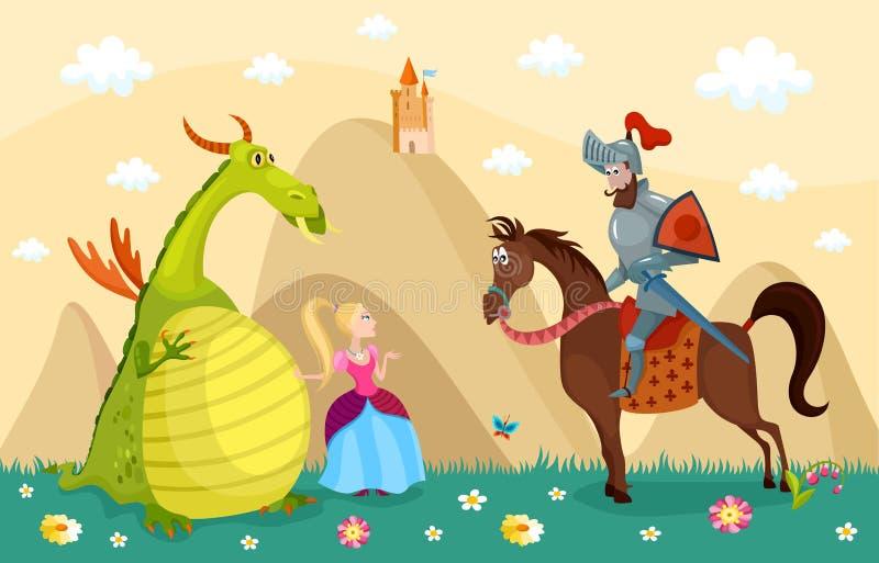Ridder en draak royalty-vrije illustratie