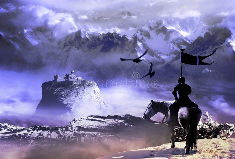 Ridder en kasteel vector illustratie