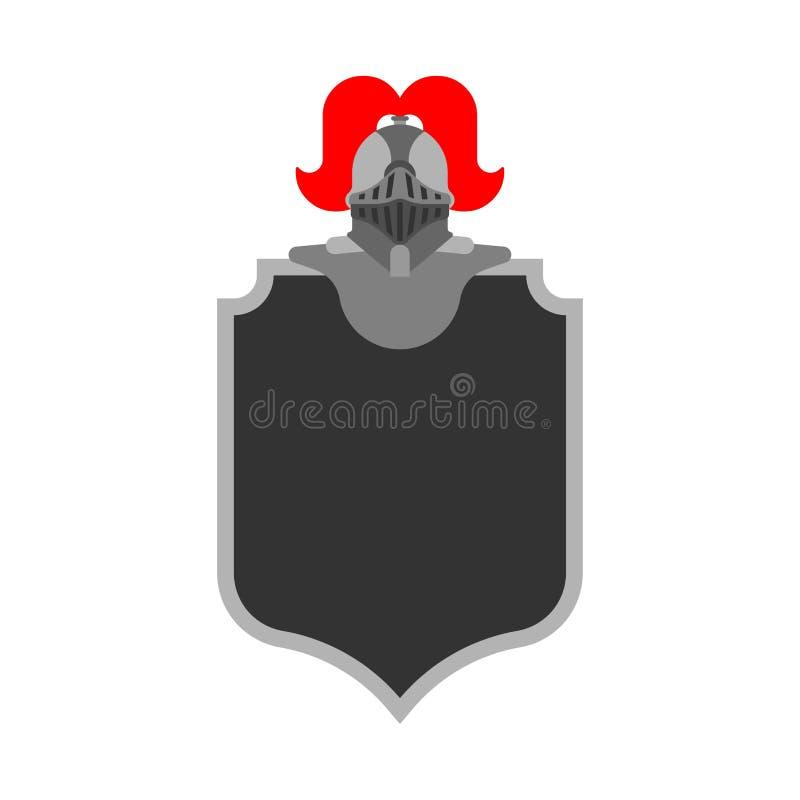 Ridder Helmet Heraldic Shield Het ontwerpelement van de malplaatjewapenkunde stock illustratie