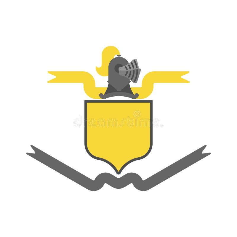 Ridder Helmet Heraldic Shield Het ontwerpelement van de malplaatjewapenkunde vector illustratie