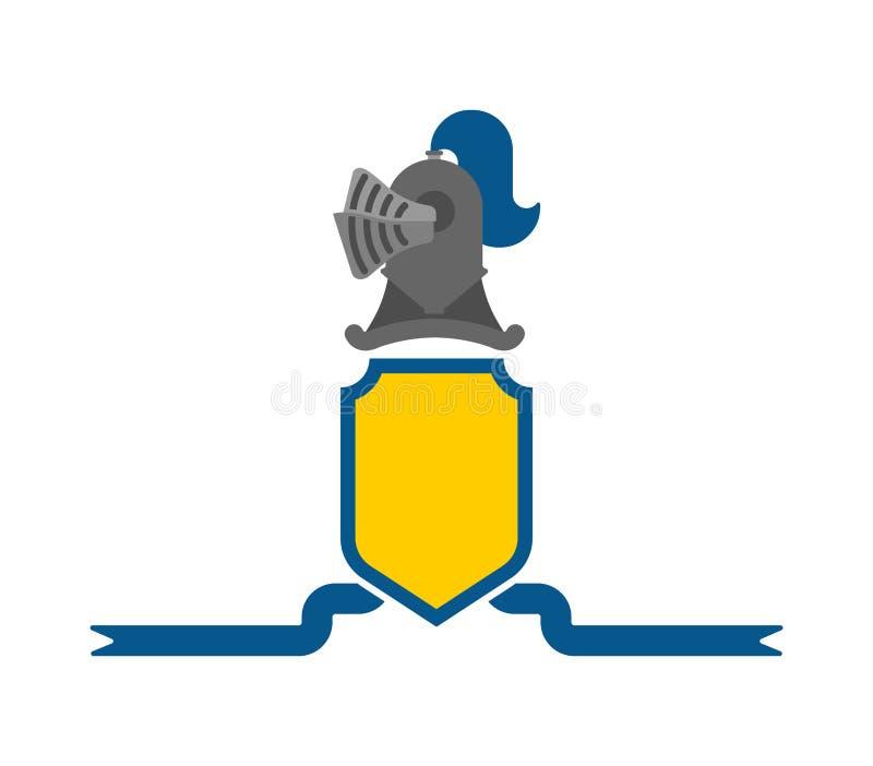 Ridder Helmet Heraldic Shield Het ontwerpelement van de malplaatjewapenkunde royalty-vrije illustratie