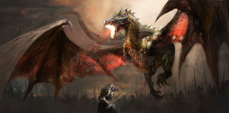Ridder het vechten draak stock illustratie