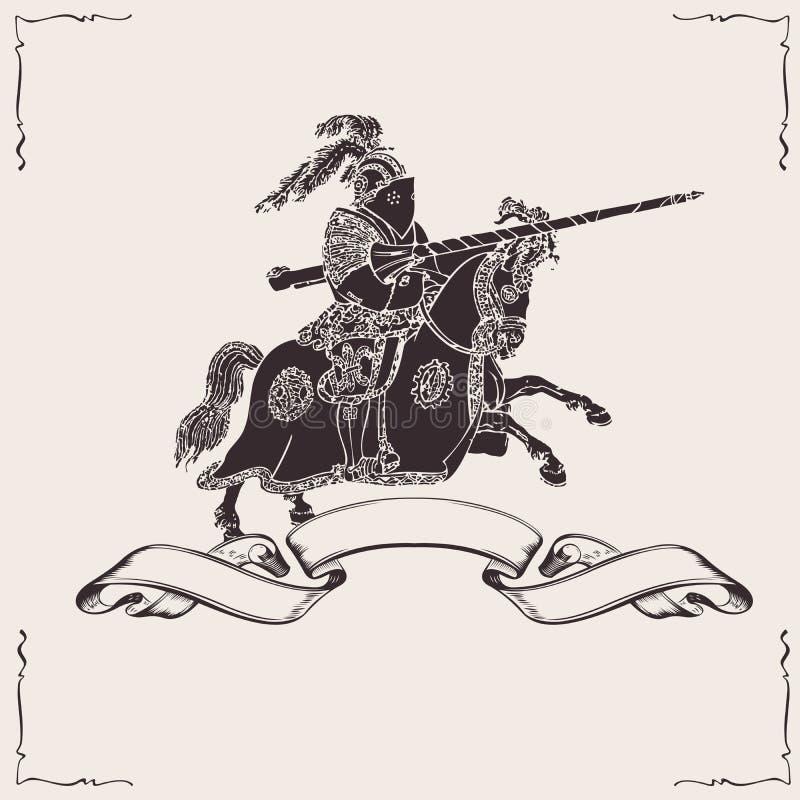 Ridder op horseback royalty-vrije illustratie