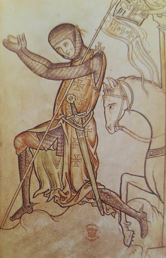 Ridder Templar die hulde aan de Koning betalen royalty-vrije stock fotografie