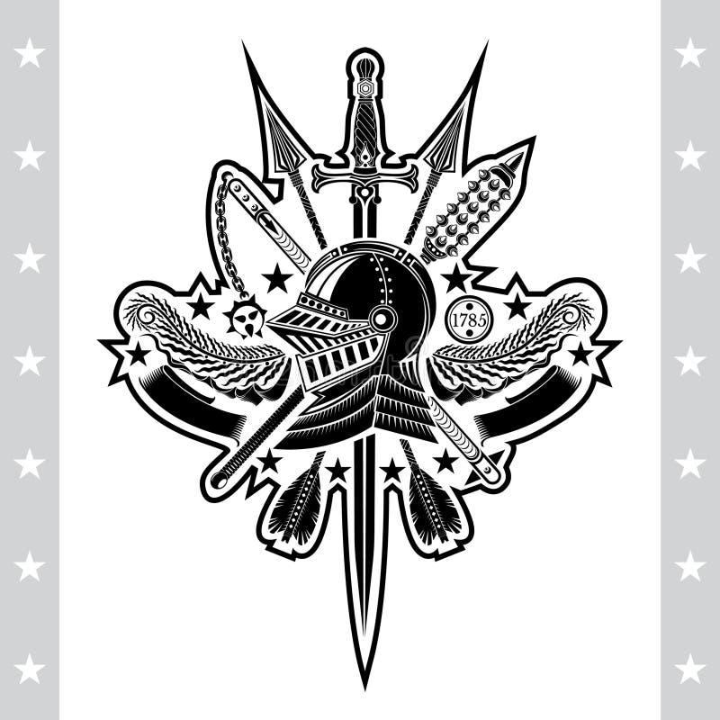 Ridderhelm in centrum van olijfkroon met gekruist maces en pijlen Heraldisch uitstekend etiket op wit vector illustratie