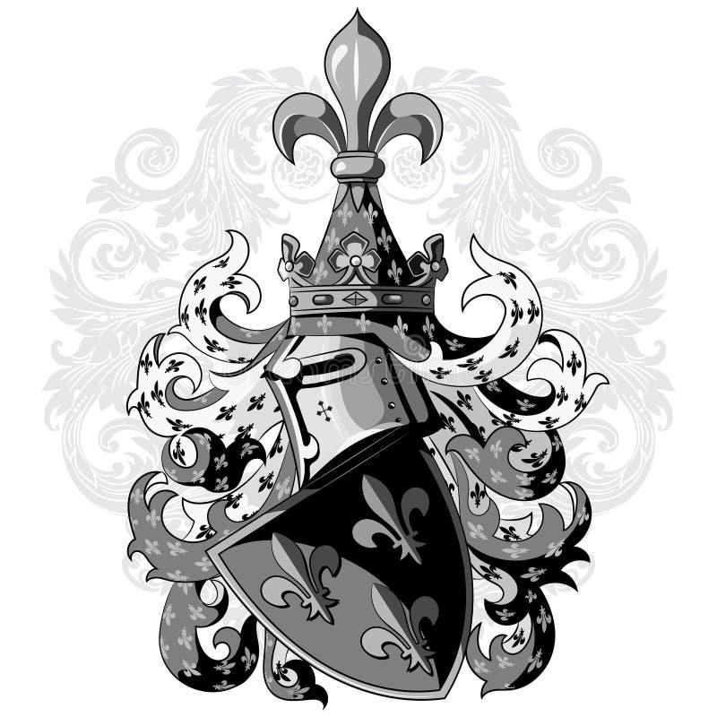 Ridderlig vapensköld Heraldisk medeltida riddarehjälm, sköld och medeltida riddareprydnad stock illustrationer