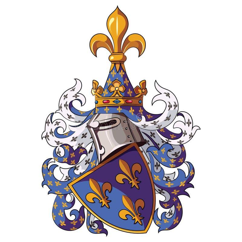 Ridderlig vapensköld Medeltida riddareheraldik stock illustrationer