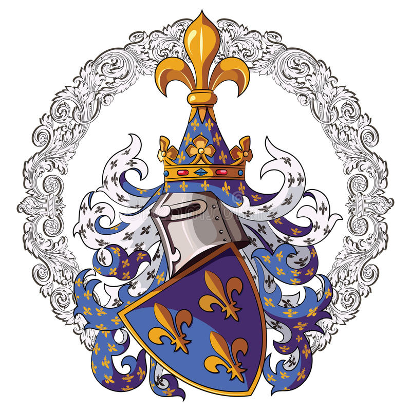 Ridderlig vapensköld Medeltida riddareheraldik och medeltida riddareprydnad vektor illustrationer