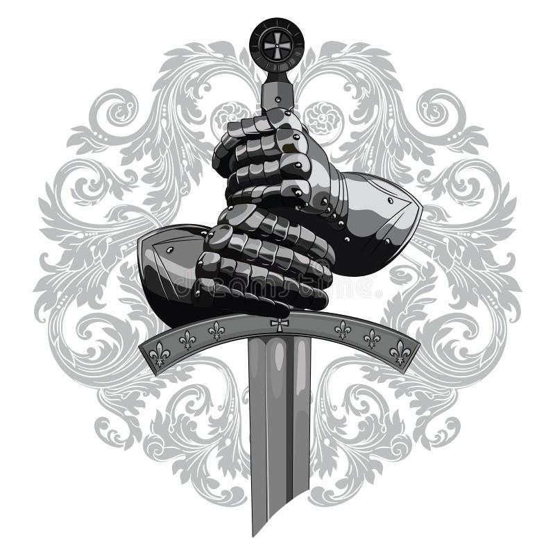 Ridderontwerp Pantserhandschoenen van de ridder, schild en het zwaard van de Kruisvaarder stock illustratie
