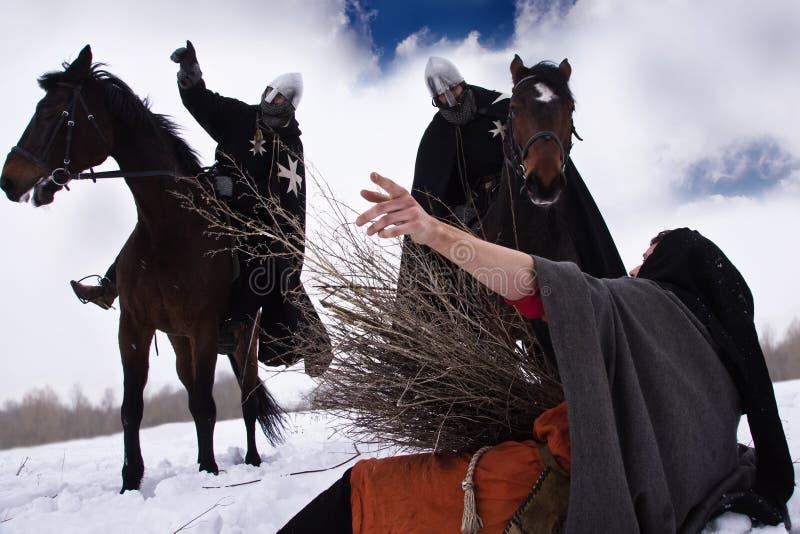 Ridders Hospitaller en de boer stock afbeelding