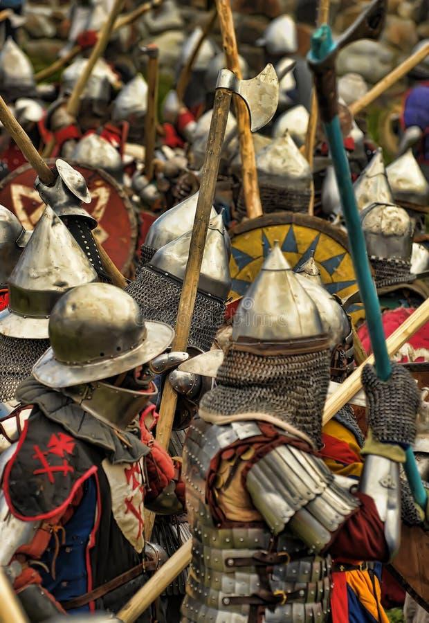 Ridders op het gebied van strijd stock foto