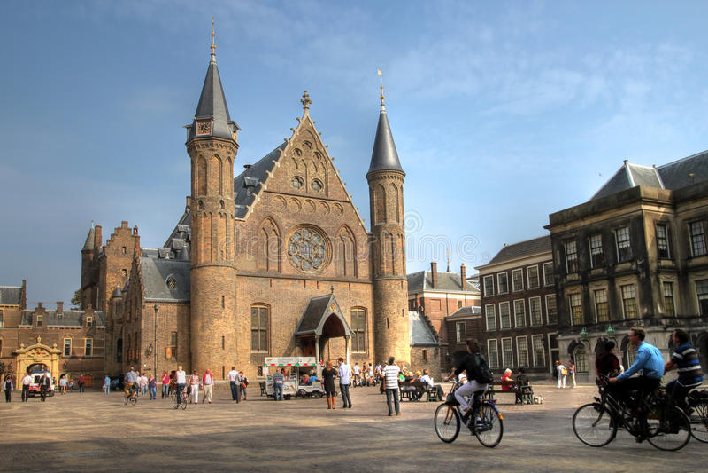 ridderzaal binnenhofhague Nederländerna fotografering för bildbyråer