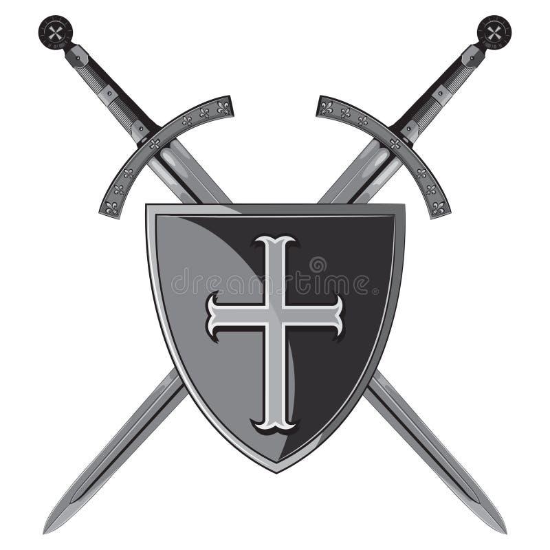 Ridderzwaarden Twee gekruiste ridder van het zwaard en het schild van de Kruisvaarder stock illustratie