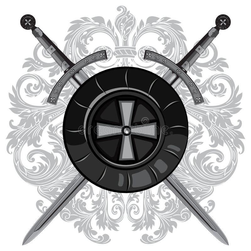 Ridderzwaarden Twee gekruiste ridder van het zwaard en het schild van de Kruisvaarder vector illustratie