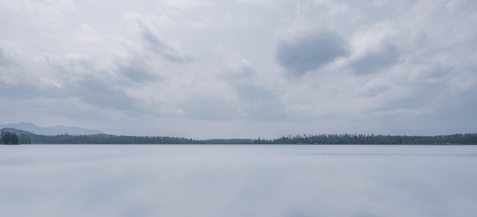 The view across Riddle Lake, Yellowstone stock photos