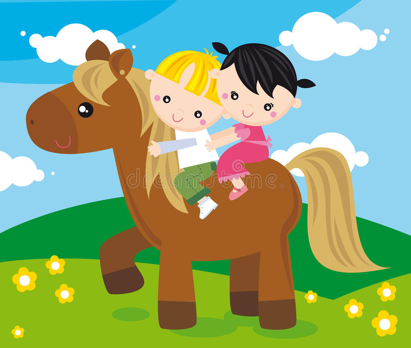 Ride. Illustration of two children riding with a pony