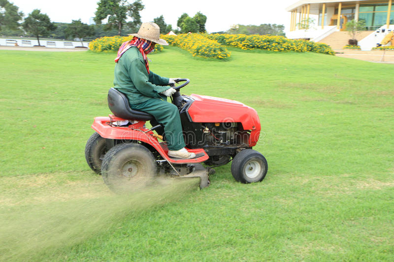 Lawn Mower Seat Trim : Ride on lawn mower cutting grass stock photo image