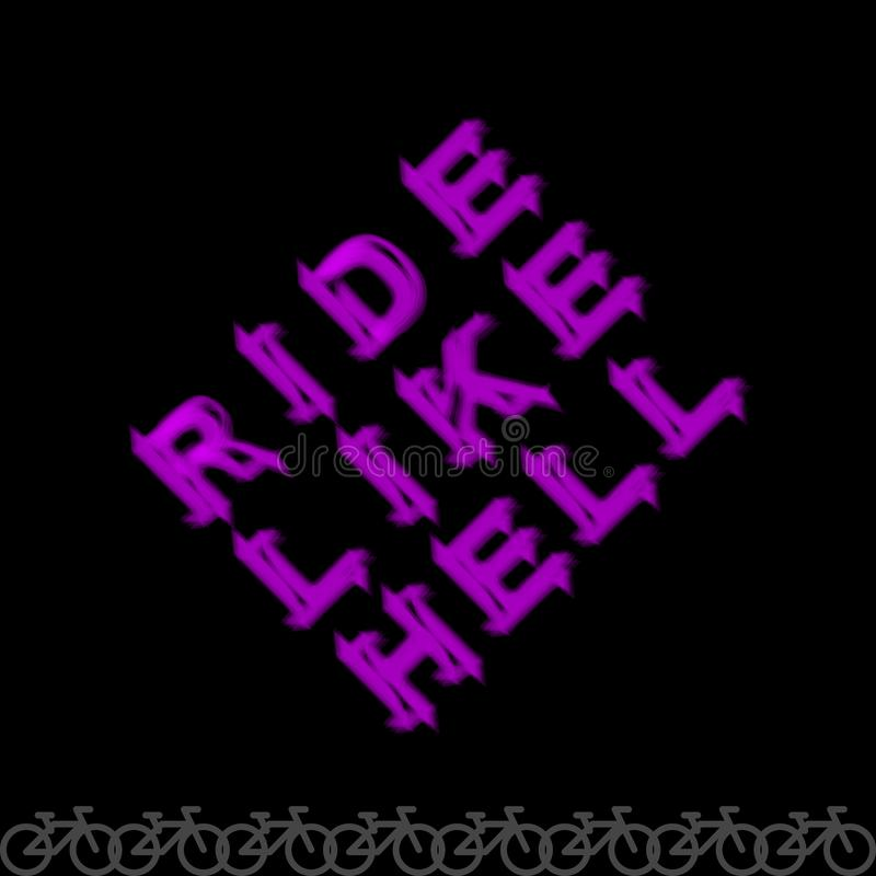 Ride Like Hell - Cycling Slogan, Word, Lettering. Typography, Print for Souvenirs, T-Shirt, Advertising. Vector Art stock illustration