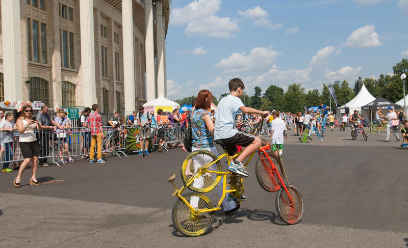 Ride on makeshift unusual bikes royalty free stock images