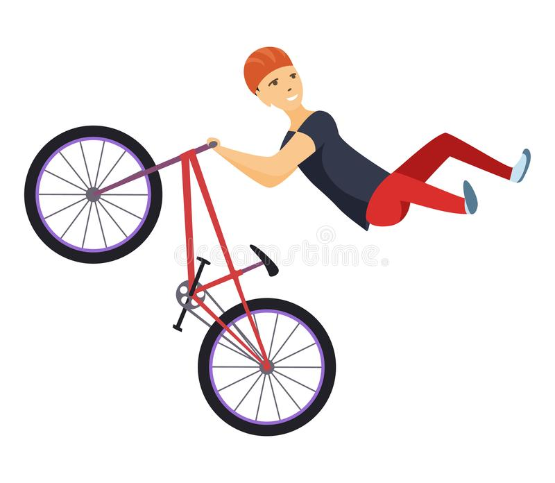 Ride on a sports bicycle, BMX cyclist performing a trick, mountain bike competition, color vector illustration isolated stock illustration