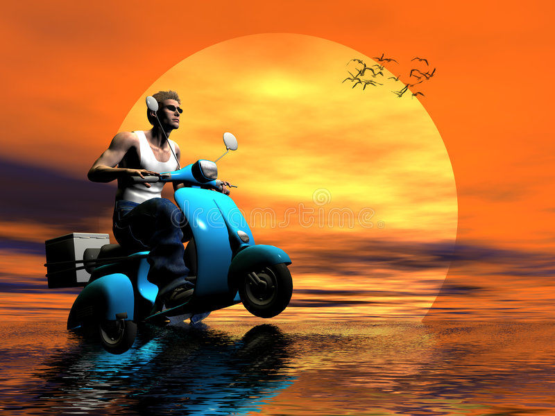 Ride into the sun. royalty free illustration