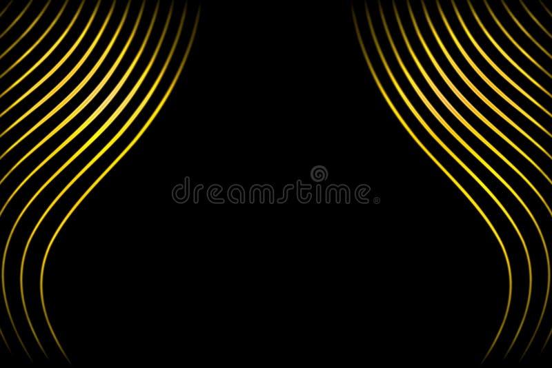 Rideau abstrait en étape avec les lignes incurvées par or sur le fond noir illustration stock